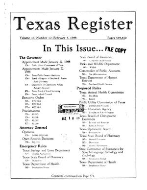 Texas Register, Volume 13, Number 10, Pages 569-659, February 5, 1988