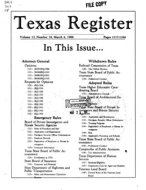 Texas Register, Volume 13, Number 18, Pages 1117-1164, March 4, 1988