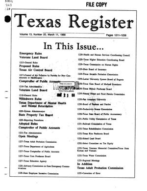 Primary view of object titled 'Texas Register, Volume 13, Number 20, Pages 1211-1236, March 11, 1988'.