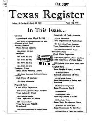 Texas Register, Volume 13, Number 21, Pages 1237-1289, March 15, 1988