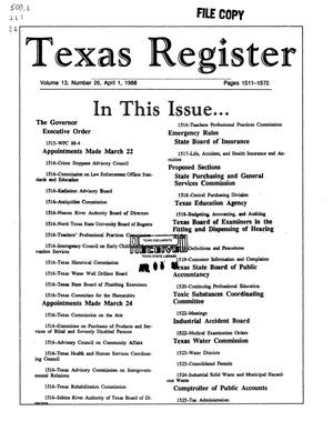 Primary view of object titled 'Texas Register, Volume 13, Number 26, Pages 1511-1572, April 1, 1988'.