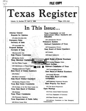 Primary view of object titled 'Texas Register, Volume 13, Number 27, Pages 1573-1621, April 5, 1988'.