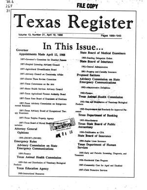 Primary view of object titled 'Texas Register, Volume 13, Number 31, Pages 1889-1943, April 19, 1988'.