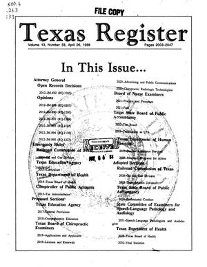 Primary view of object titled 'Texas Register, Volume 13, Number 33, Pages 2003-2047, April 25, 1988'.