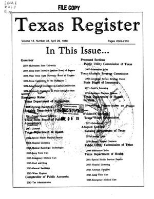 Primary view of object titled 'Texas Register, Volume 13, Number 34, Pages 2049-2110, April 29, 1988'.