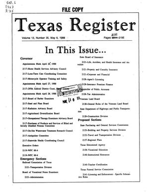 Primary view of object titled 'Texas Register, Volume 13, Number 35, Pages 2111-2195, May 6, 1988'.