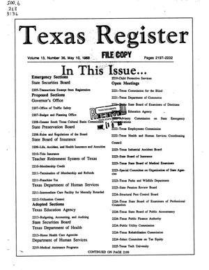 Primary view of object titled 'Texas Register, Volume 13, Number 36, Pages 2197-2232, May 10, 1988'.