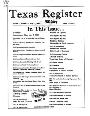 Primary view of object titled 'Texas Register, Volume 13, Number 37, Pages 2233-2275, May 13, 1988'.