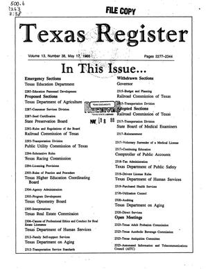 Primary view of object titled 'Texas Register, Volume 13, Number 38, Pages 2277-2344, May 17, 1988'.