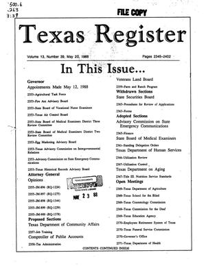 Primary view of object titled 'Texas Register, Volume 13, Number 39, Pages 2345-2402, May 20, 1988'.