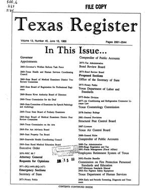 Primary view of object titled 'Texas Register, Volume 13, Number 45, Pages 2861-2944, June 10, 1988'.