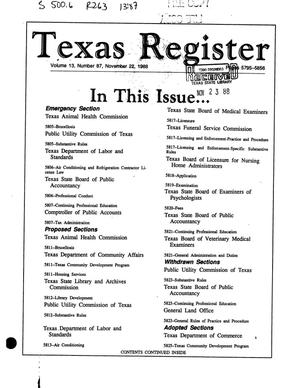 Primary view of object titled 'Texas Register, Volume 13, Number 87, Pages 5795-5856, November 22, 1988'.