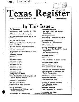 Primary view of object titled 'Texas Register, Volume 13, Number 88, Pages 5857-5939, November 25, 1988'.