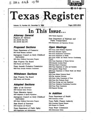 Primary view of object titled 'Texas Register, Volume 13, Number 90, Pages 6005-6044, December 6, 1988'.