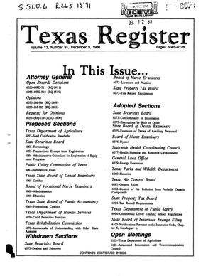 Primary view of object titled 'Texas Register, Volume 13, Number 91, Pages 6045-6126, December 09, 1988'.