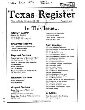 Primary view of object titled 'Texas Register, Volume 13, Number 92, Pages 6129-6173, December 13, 1988'.