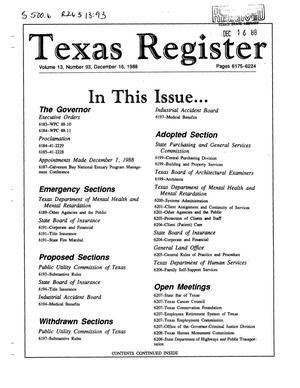 Primary view of object titled 'Texas Register, Volume 13, Number 93, Pages 6175-6224, December 16, 1988'.