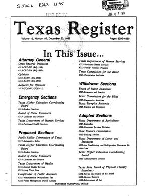 Primary view of object titled 'Texas Register, Volume 13, Number 95, Pages 6305-6369, December 23, 1988'.