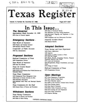 Primary view of object titled 'Texas Register, Volume 13, Number 96, Pages 6371-6487, December 27, 1988'.