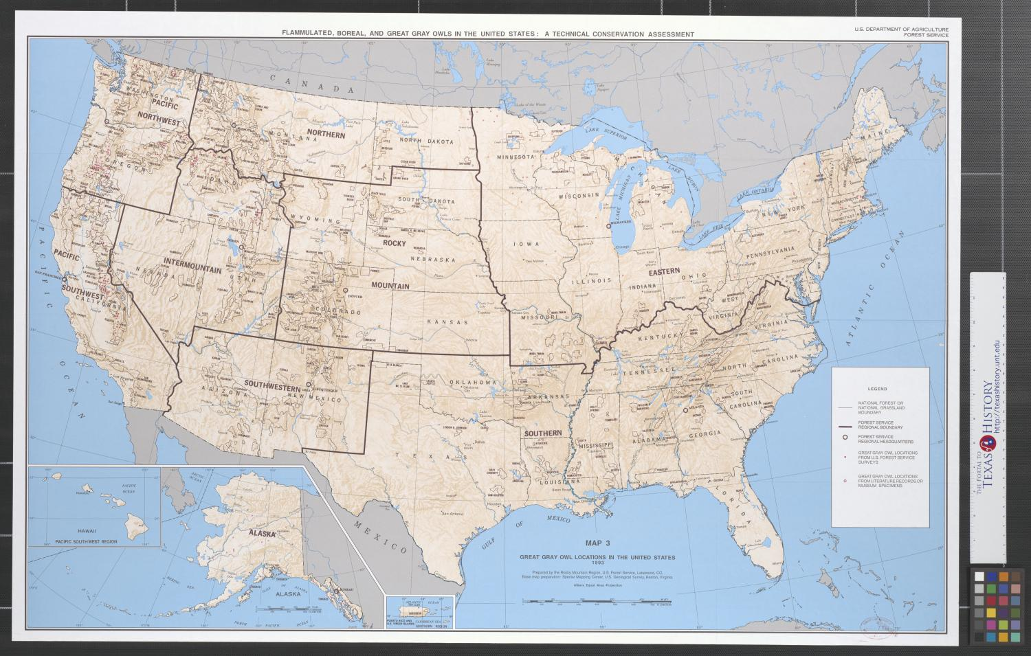 Great gray owl locations in the United States, 1993.                                                                                                      [Sequence #]: 1 of 2