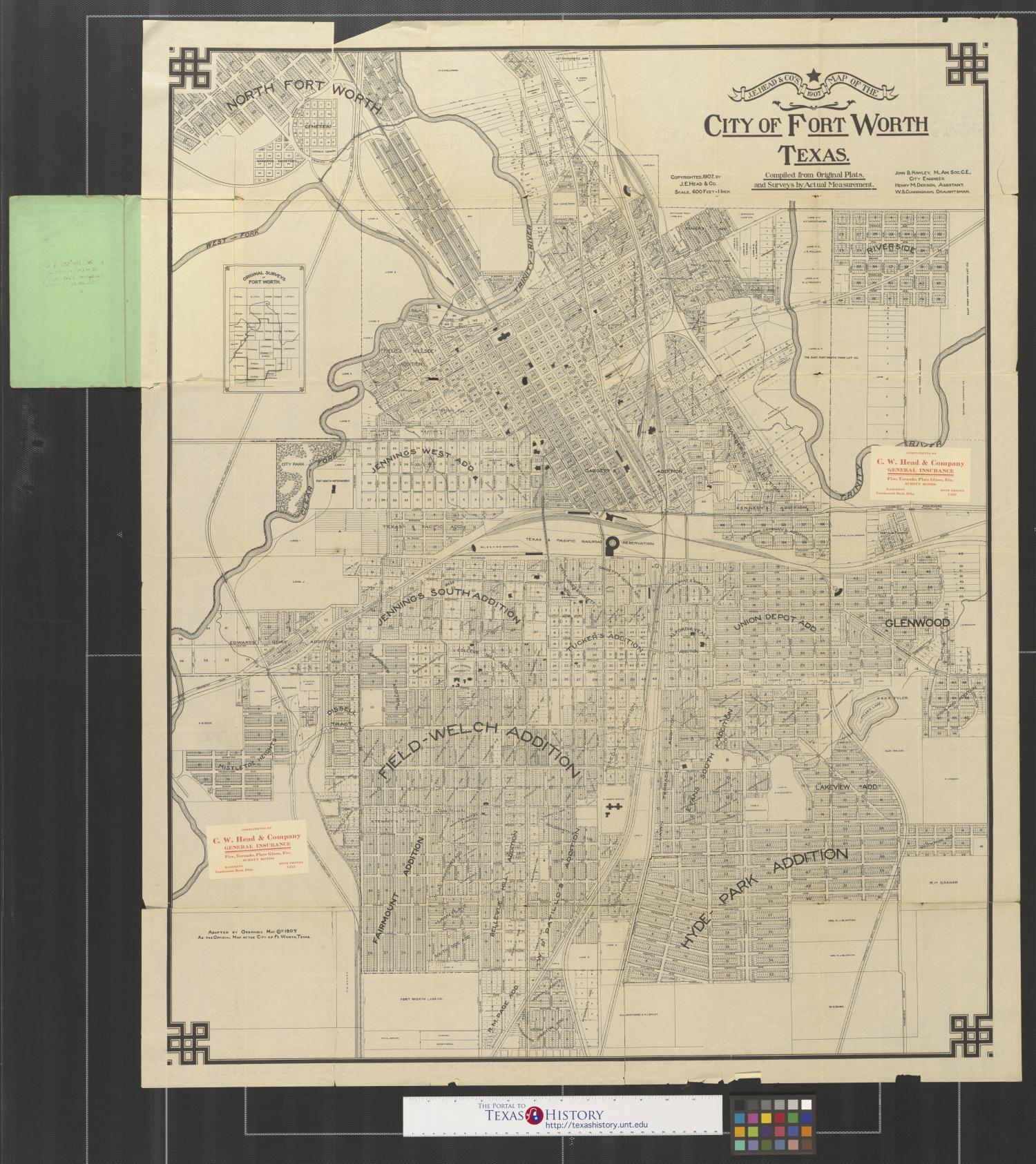 J.E. Head & Co.\'s 1907 map of the city of Fort Worth, Texas ...