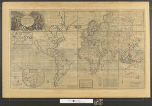 Primary view of object titled 'A new & correct map of the whole world : shewing ye situation of its principal parts. Viz the oceans, kingdoms, rivers, capes, ports, mountains, woods, trade-winds, monsoons, variation of ye compass, climats, &c. With the most remarkable tracks of the bold attempts which have been made to find out the North East & North West Passages.'.