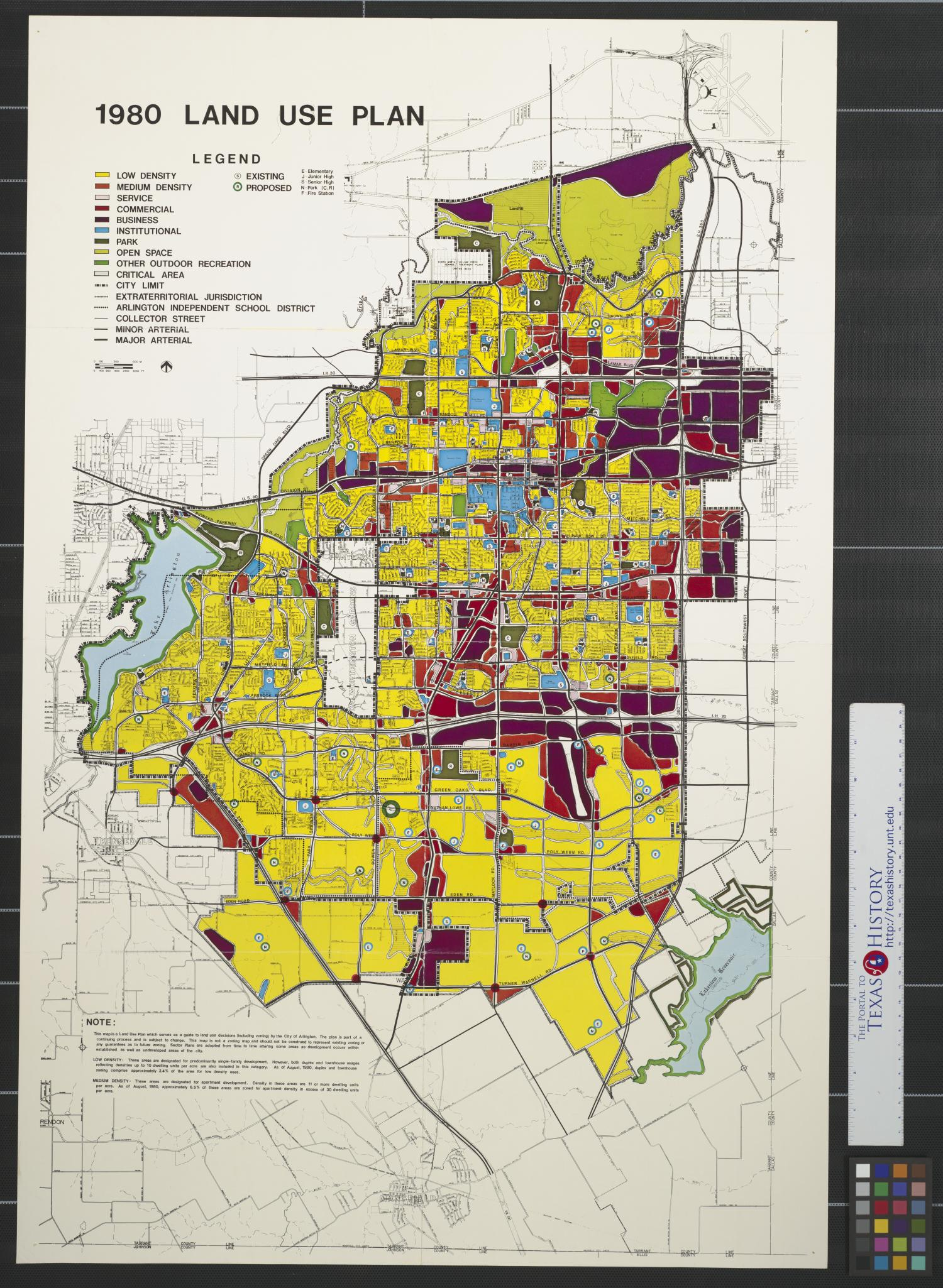 1980 [Arlington, Texas] land use plan. - The Portal to Texas ... on map of axtell, map of fort worth, map of seaport district, map of dwight, map of graysville, map of arga, map of girard, map of foxborough, map of somervell county, map of ponderosa estates, map of north chelmsford, map of beltzhoover, map of fort steilacoom, map of east jacksonville, map of comfort, map of cedar, map of west salem, map of roane county, map of crandall, map of oak hill,