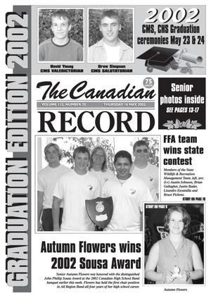 Primary view of object titled 'The Canadian Record (Canadian, Tex.), Vol. 112, No. 20, Ed. 1 Thursday, May 16, 2002'.