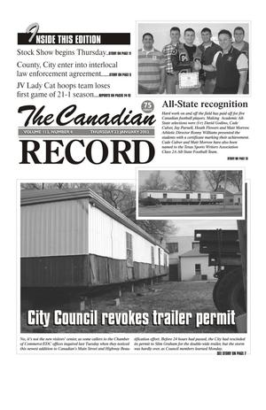 Primary view of object titled 'The Canadian Record (Canadian, Tex.), Vol. 113, No. 4, Ed. 1 Thursday, January 23, 2003'.