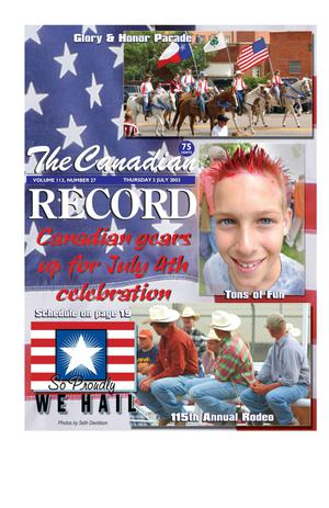 The Canadian Record (Canadian, Tex.), Vol. 113, No. 27, Ed. 1 Thursday, July 3, 2003