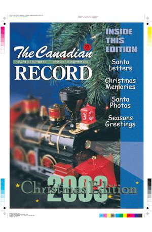 Primary view of object titled 'The Canadian Record (Canadian, Tex.), Vol. 113, No. 52, Ed. 1 Thursday, December 25, 2003'.