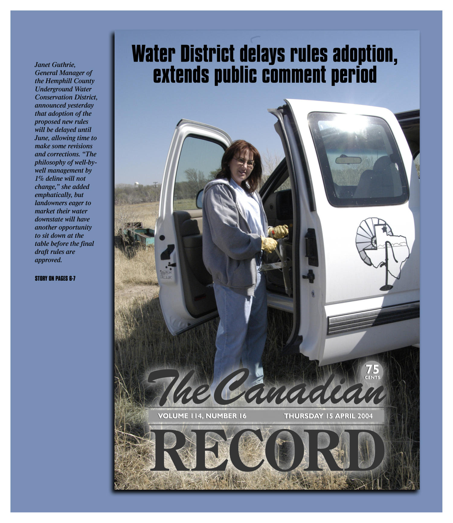 The Canadian Record (Canadian, Tex.), Vol. 114, No. 16, Ed. 1 Thursday, April 15, 2004                                                                                                      [Sequence #]: 1 of 28
