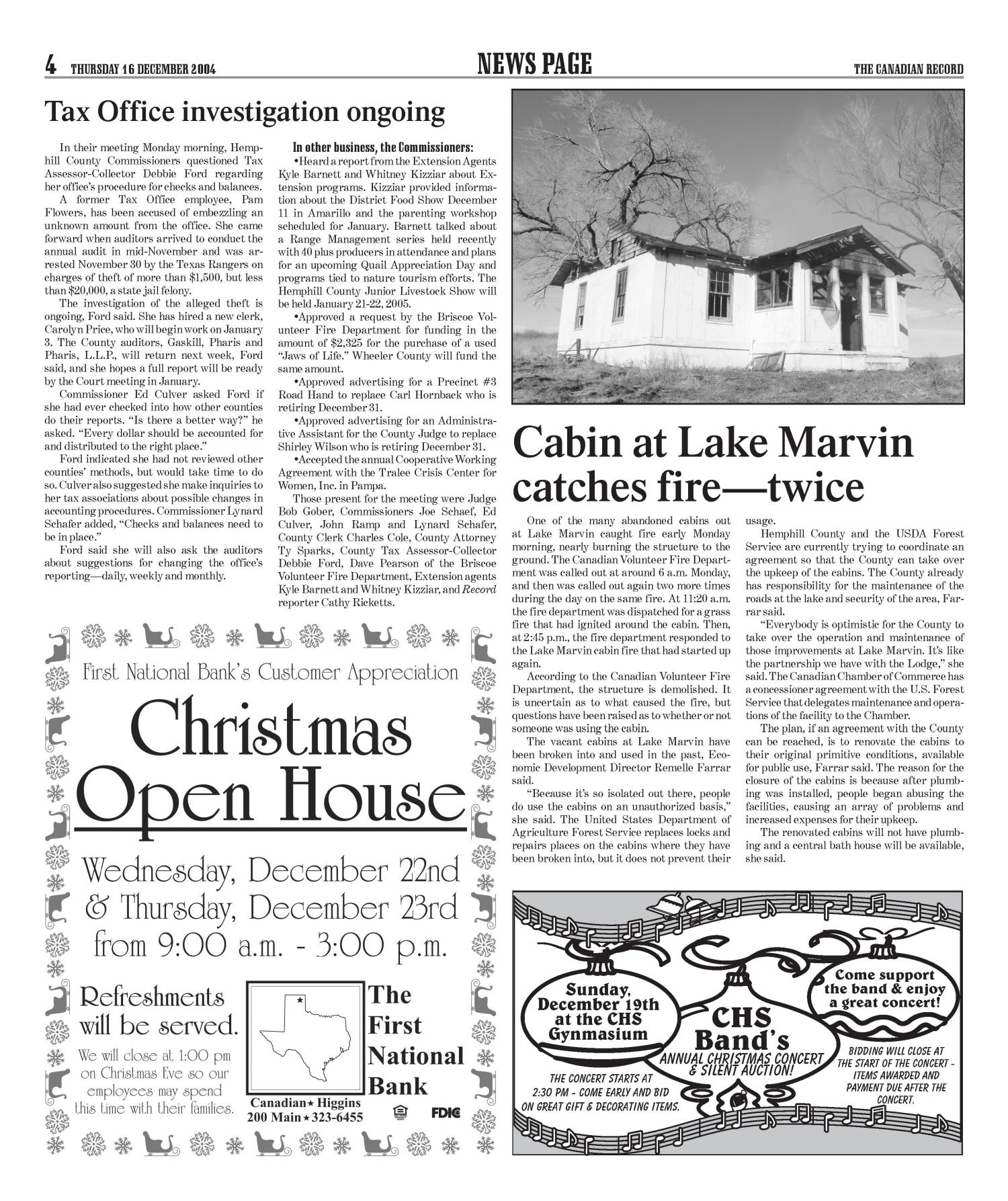 The Canadian Record (Canadian, Tex.), Vol. 114, No. 51, Ed. 1 Thursday, December 16, 2004                                                                                                      [Sequence #]: 4 of 28