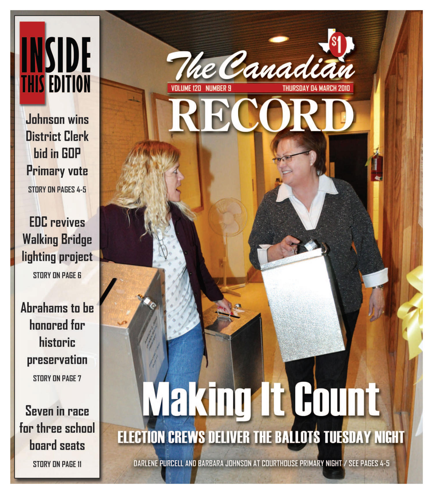 The Canadian Record (Canadian, Tex.), Vol. 120, No. 9, Ed. 1 Thursday, March 4, 2010                                                                                                      [Sequence #]: 1 of 32