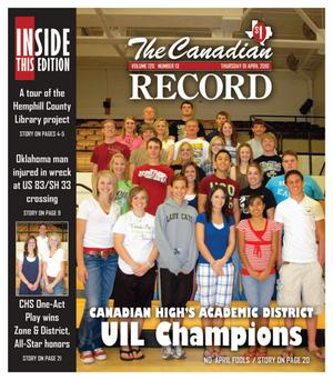 The Canadian Record (Canadian, Tex.), Vol. 120, No. 13, Ed. 1 Thursday, April 1, 2010