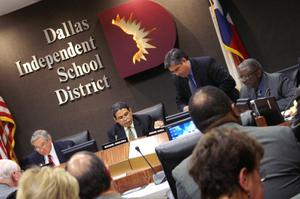 Primary view of object titled '[Members of the Dallas School Board are shown during a meeting]'.