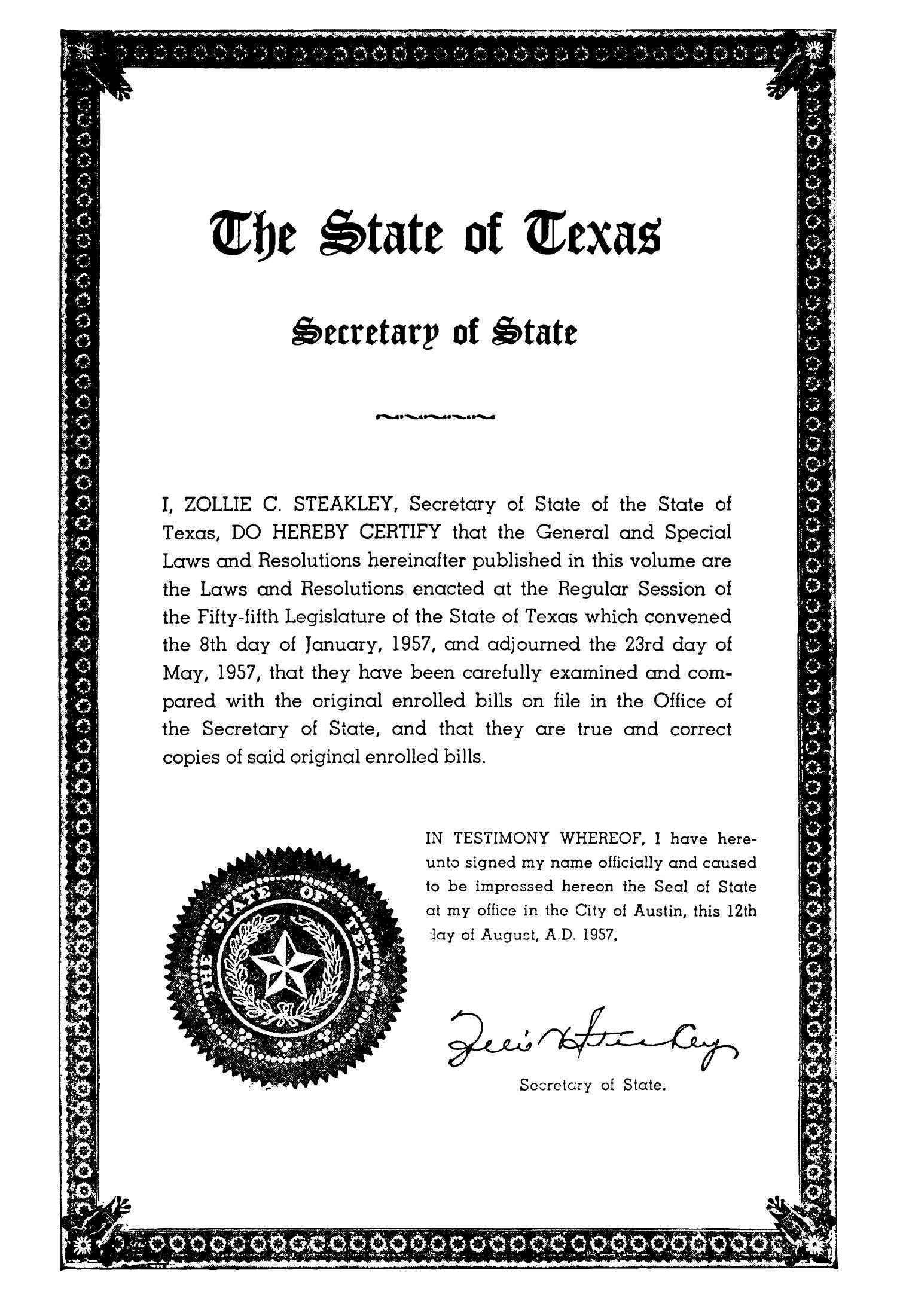 General and Special Laws of The State of Texas Passed By The Regular Session of the Fifty-Fifth Legislature                                                                                                      III