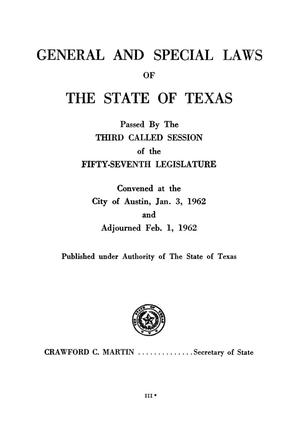 Primary view of object titled 'General and Special Laws of The State of Texas Passed By The Third Called Session of the Fifty-Seventh Legislature and the Regular Session of the Fifty-Eighth Legislature'.