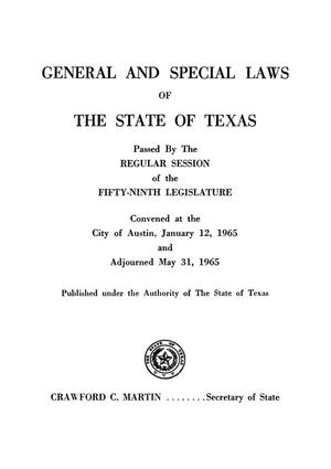 Primary view of object titled 'General and Special Laws of The State of Texas Passed By The Regular Session of the Fifty-Ninth Legislature, Volume 2'.
