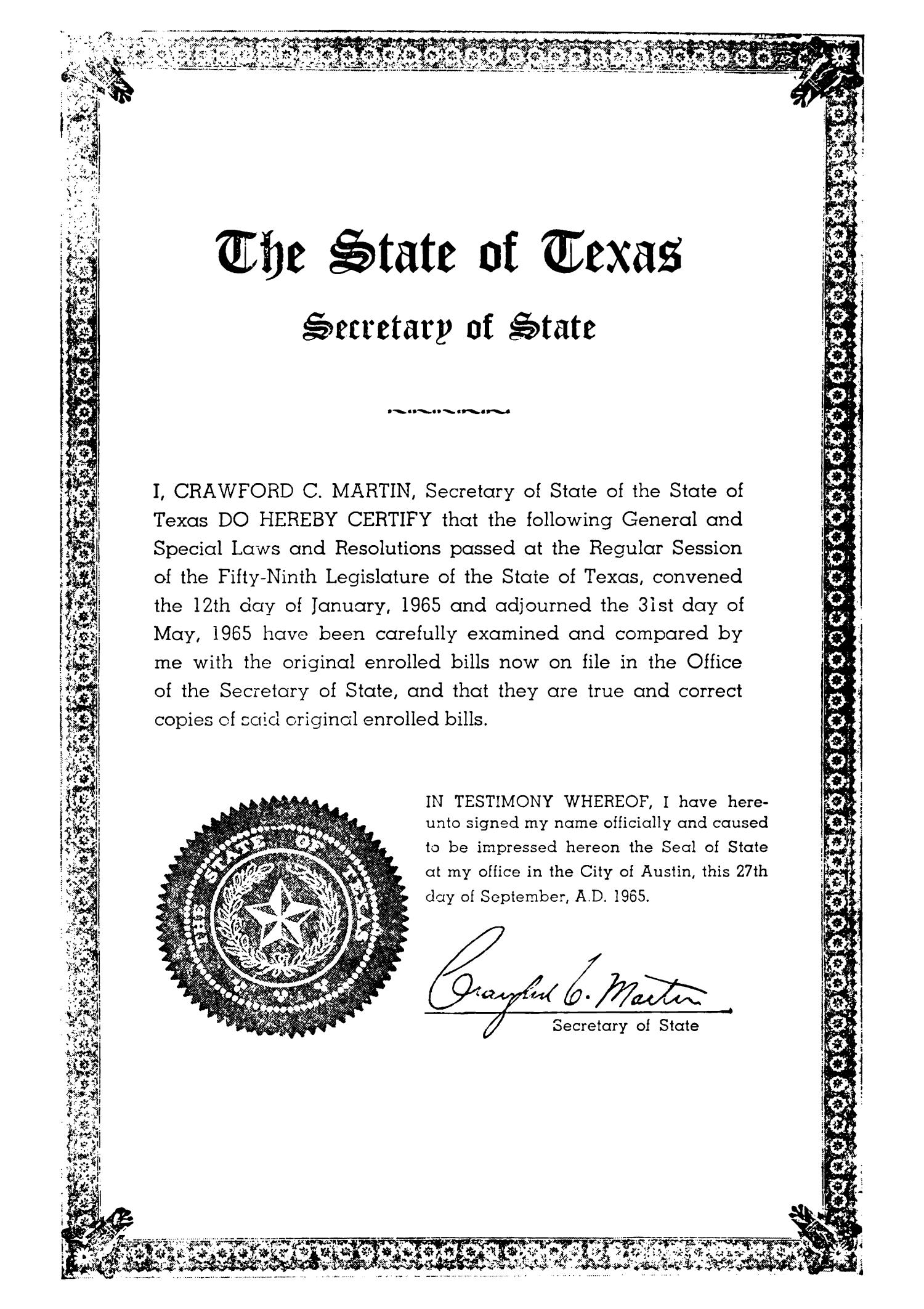 General and Special Laws of The State of Texas Passed By The Regular Session of the Fifty-Ninth Legislature, Volume 2                                                                                                      III