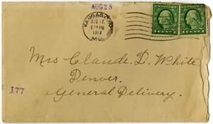 Primary view of object titled '[Envelope from M. C. Elliott to Linnet White, August 28, 1917]'.