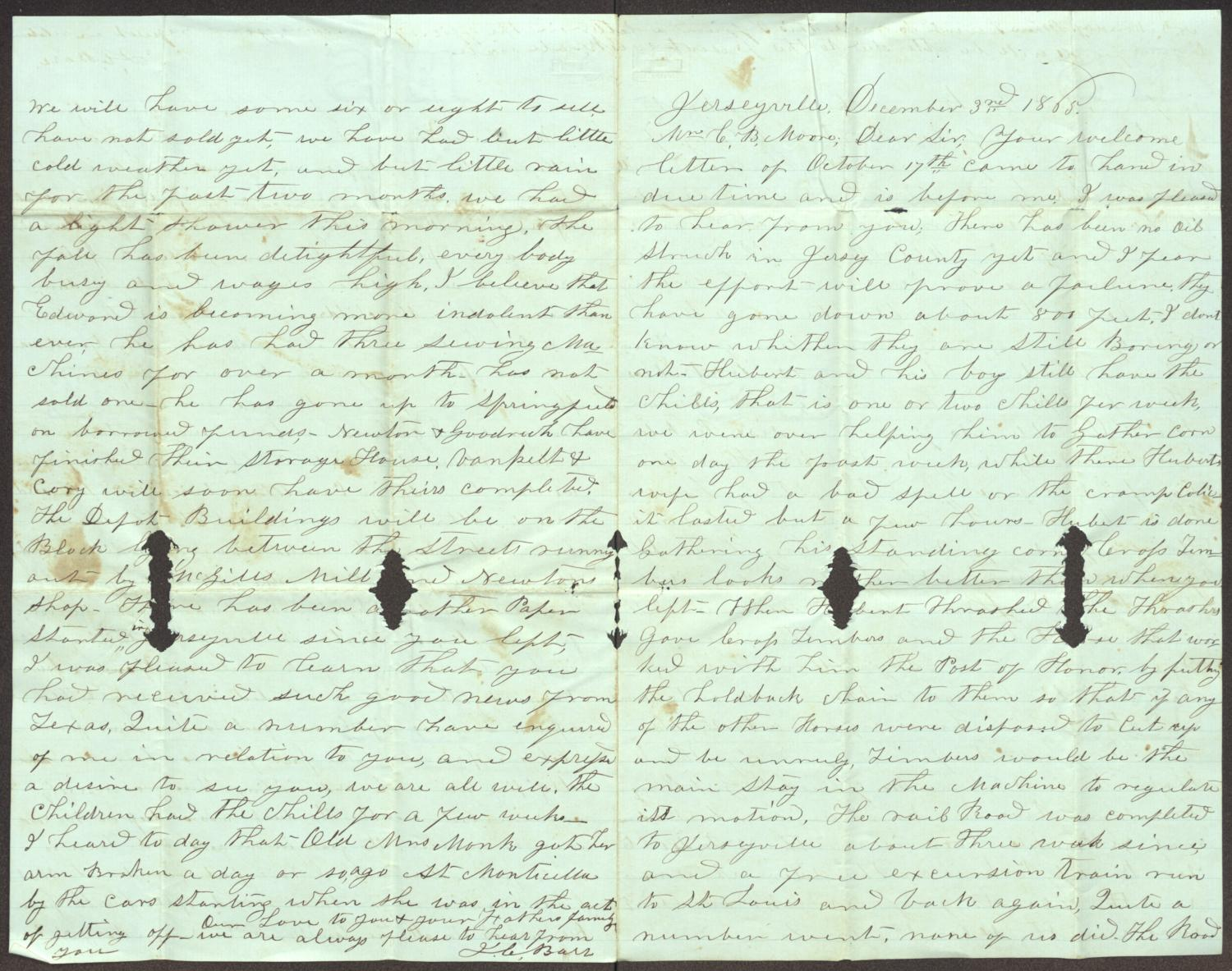 [Letter from J. C. and Mary A. Barr to Charles B. Moore, December 3, 1865]                                                                                                      [Sequence #]: 1 of 2