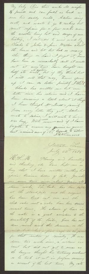 Primary view of object titled '[Letter from J. A. Nimmo to H. S. Moore, July 22, 1875]'.