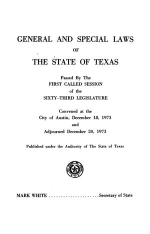 Primary view of object titled 'General and Special Laws of The State of Texas Passed By The First Called Session of the Sixty-Third Legislature and the Regular Session of the Sixty-Fourth Legislature'.