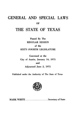 General and Special Laws of The State of Texas Passed By The Regular Session of the Sixty-Fourth Legislature, Volume 2
