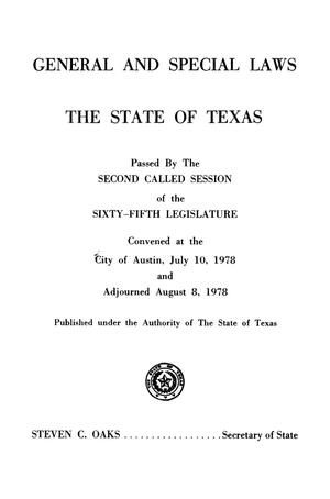 Primary view of object titled 'General and Special Laws of The State of Texas Passed By The Second Called Session of the Sixty-Fifth Legislature and the Regular Session of the Sixty-Sixth Legislature'.