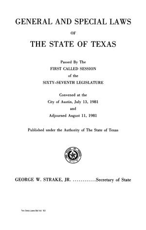 Primary view of object titled 'General and Special Laws of The State of Texas Passed By The First, Second, and Third Called Sessions of the Sixty-Seventh Legislature and the Regular Session of the Sixty-Eighth Legislature'.