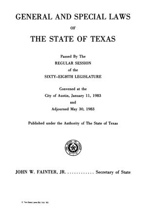 Primary view of object titled 'General and Special Laws of The State of Texas Passed By The Regular Session and The First Called Session of the Sixty-Eighth Legislature'.