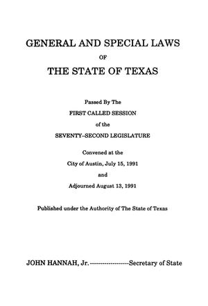 Primary view of object titled 'General and Special Laws of The State of Texas Passed By The First and Second Called Sessions of the Seventy-Second Legislature'.