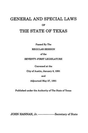 Primary view of object titled 'General and Special Laws of The State of Texas Passed By The Regular Session of the Seventy-Second Legislature, Volume 3'.